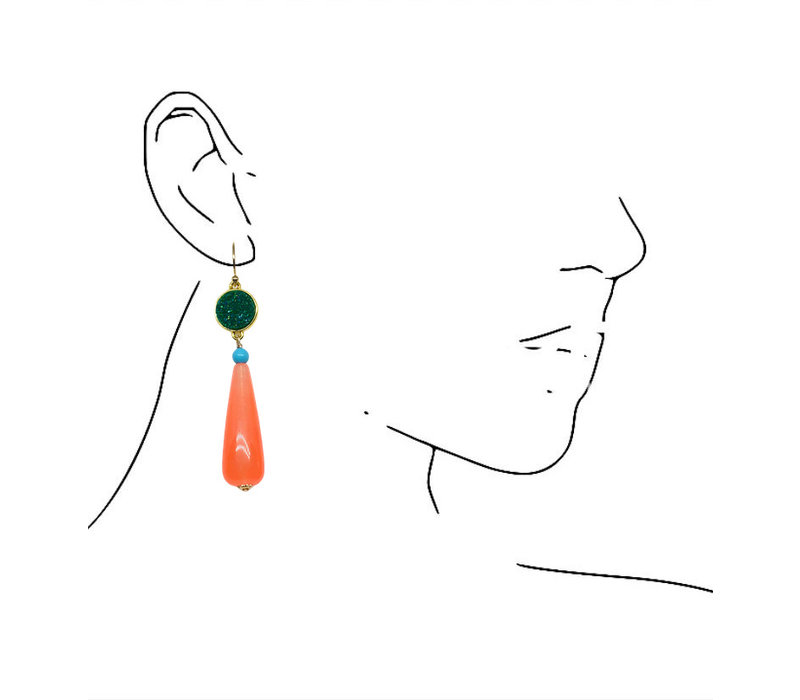 Earrings with Geode, Turqouise and Agate