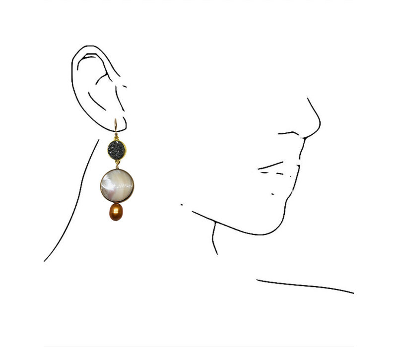 Earrings with Geode, Mother of Pearl and Pearl