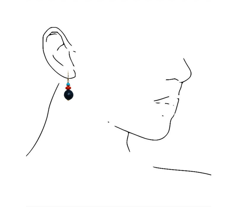 Earrings with Agate and Lapis Lazulite