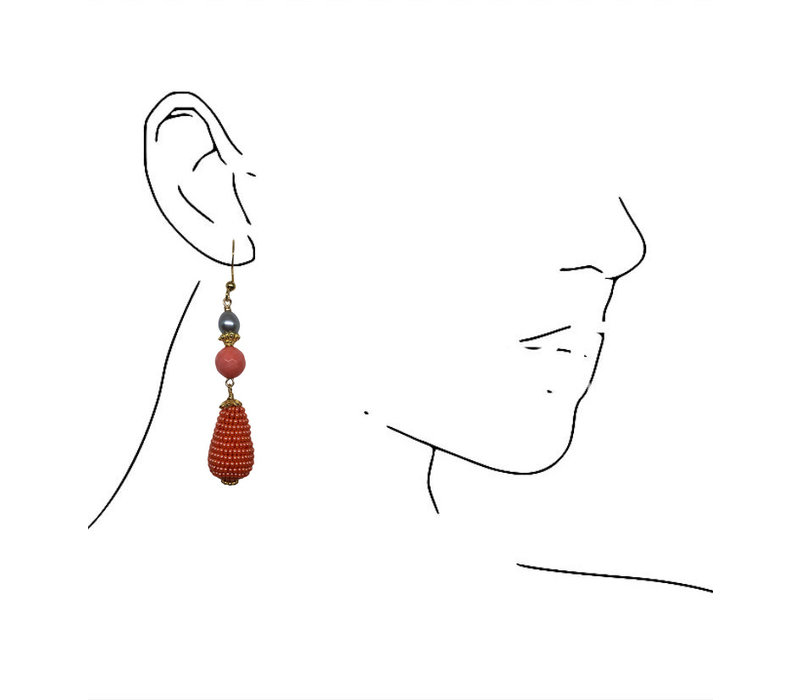 Earrings with Pearl, Cultured Coral and Icicle with Beads
