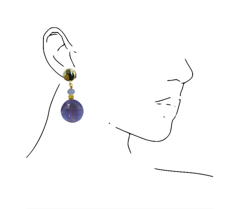 Earrings with Bras and Crystal with Coating