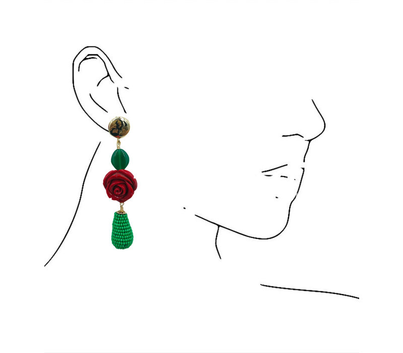 Earrings with Agate, Resin and Icicle with Beads
