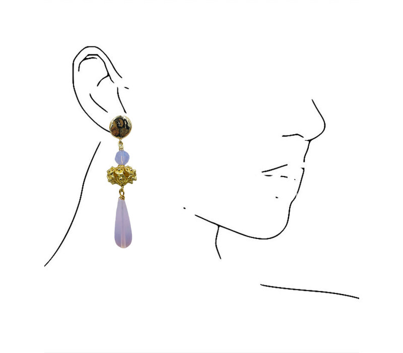 Earrings with Bras and Opalite
