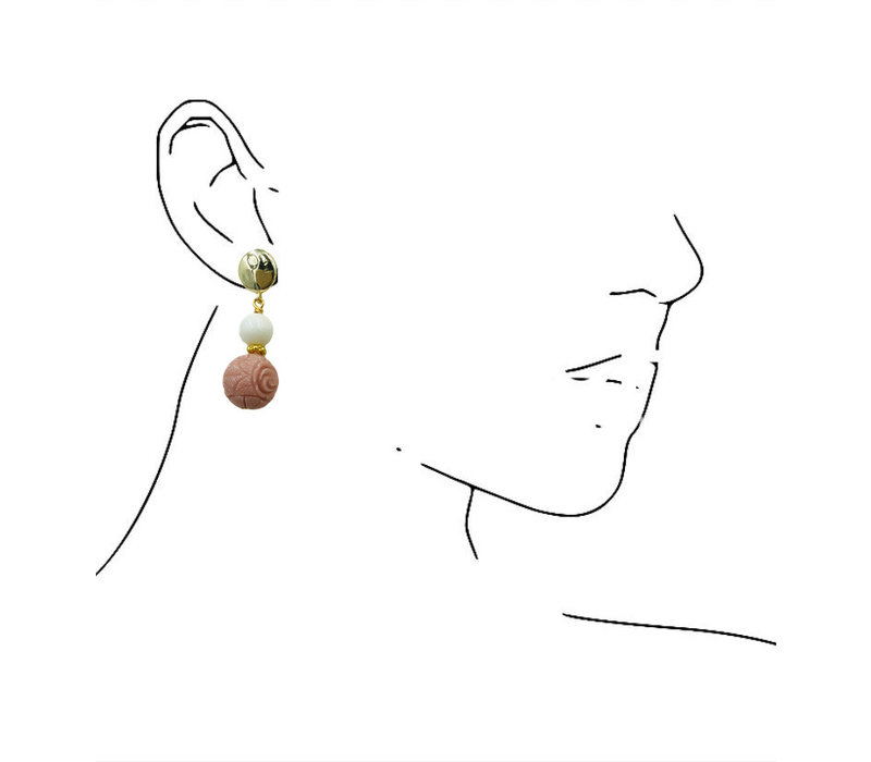 Earrings with Agate and Resin