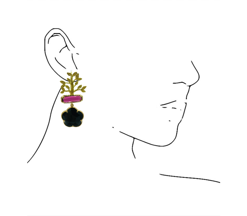 Earrings with Bras, Cat's Eye and Crystal - gold, pink, black
