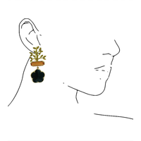 Earrings with Bras, Cat's Eye and Crystal - gold, orange, black