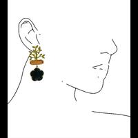 Oorbellen met Bras, Kattenoog en Kristal - goud, oranje, zwart