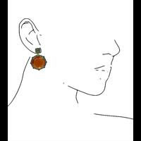 Oorbellen met Kattenoog en Kristal - blauw oranje