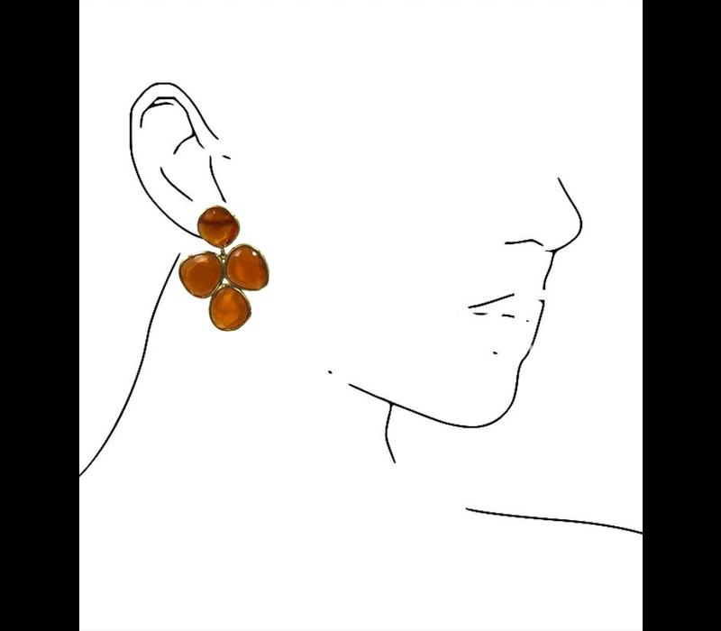 Earrings with cat's eye - orange
