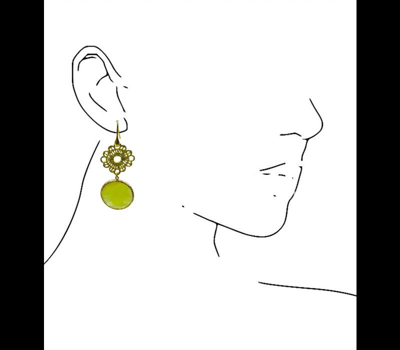Earrings with cat's eye