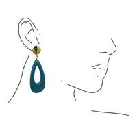 Oorbellen met Bras en Hars - goud blauw