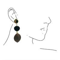 Oorbellen met Bras en Hars - zwart brons