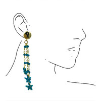 Earrings with Bras, Crystal and Turqouise