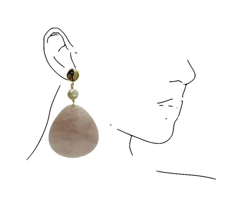 Earrings with Pearl and Resin