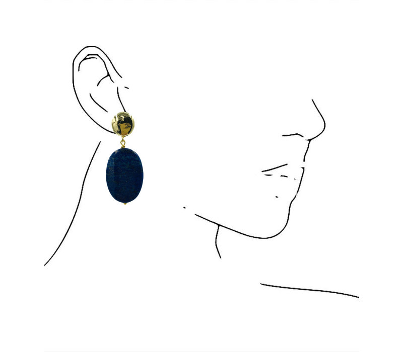 Earrings with Bras and Lapis Luzulite