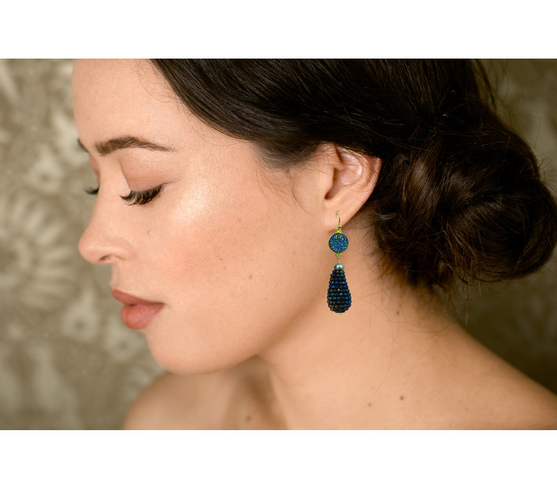 Earrings with Geode, Pearl and Pegel with Spinel with Coating