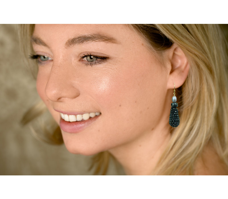 Earrings with Pearl, Hematite and Spinel with Coating