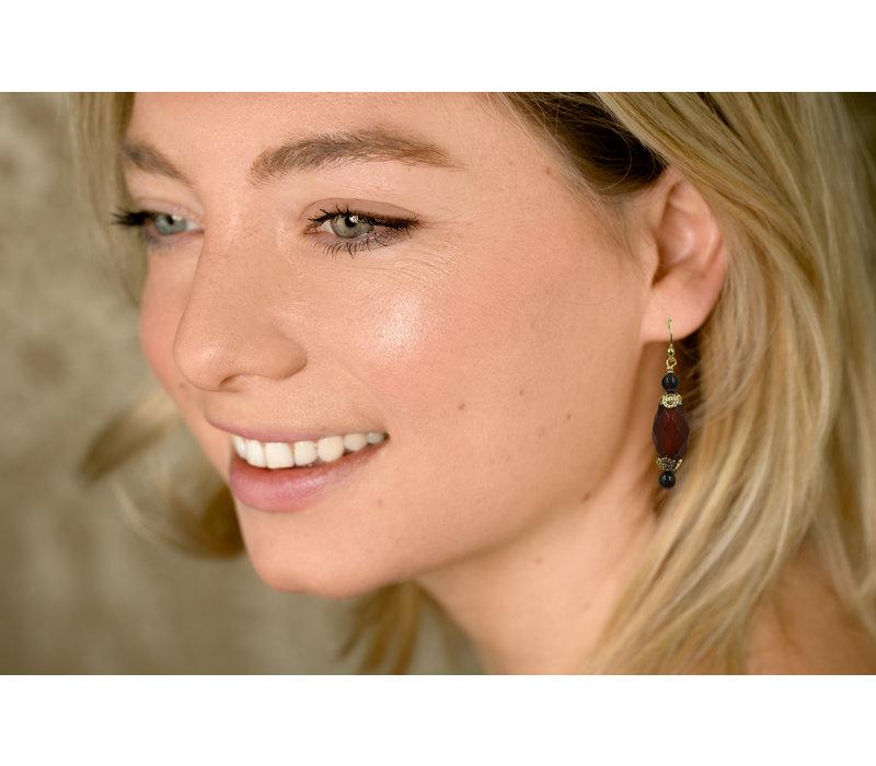 Earrings with Garnet and Carnelian