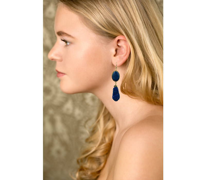 Earrings with Lapis Lazulite, Pyrite and Pegel with Lapis Lazulite