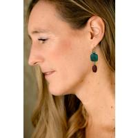 Earrings with Pearl, Kyanite and Carnelian
