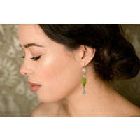 Earrings with Rose Quartz, Lemon Quartz and Jade