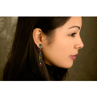 Earrings with Quartz, Hematite, Carnelian and Tigereye