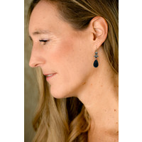Pearl, Silver Bead, Sandstone and Onyx earrings