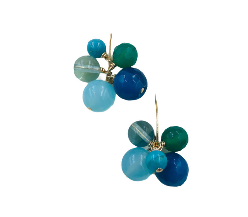Earrings with Turqoise, Agate, Agate, Fluorite and Chalcedony