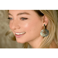 Earrings with Bras, Moonstone and Mother of Pearl