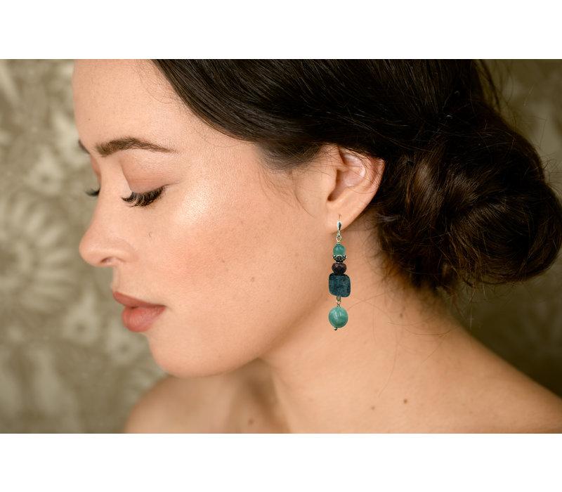 Earrings with Fluorite, Jasper, Kyanite and Jade