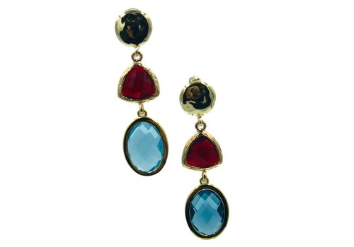 CLASSIC COLLECTION Gold, Red, Blue Earrings