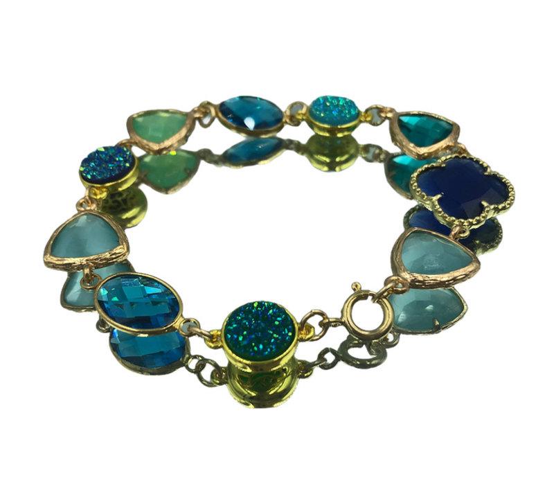 Bracelet with Geode, Crystal, Cat's Eye