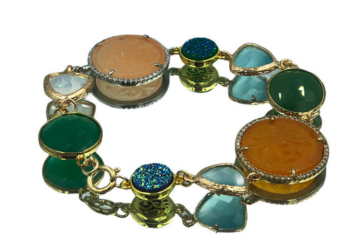 CLASSIC COLLECTION Goud, Blauw, Groen, Oranje Armband