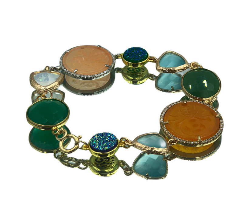 Bracelet with Geode, Cat's Eye, Colored Jade and Crystal
