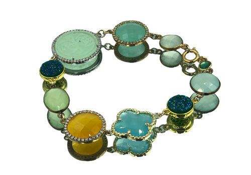 CLASSIC COLLECTION Goud, Groen, Blauw, Gele Armband