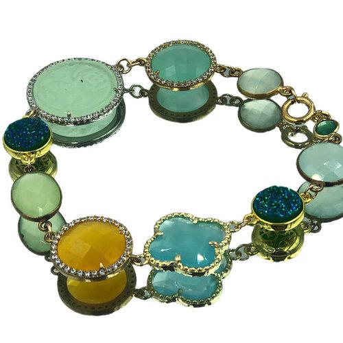 Gold, Green, Blue, Yellow Bracelet