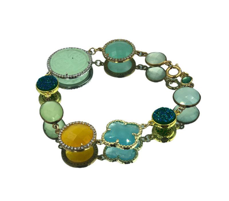 Armband met Geode, Kristal, Kattenoog, Gekleurde Jade, Chalcedoon en Kwarts