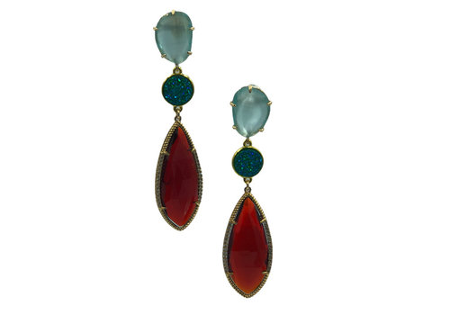 CLASSIC COLLECTION Aqua, Green, Wine Red Earring