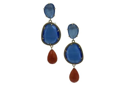 CLASSIC COLLECTION Blauw Oranje Oorbel