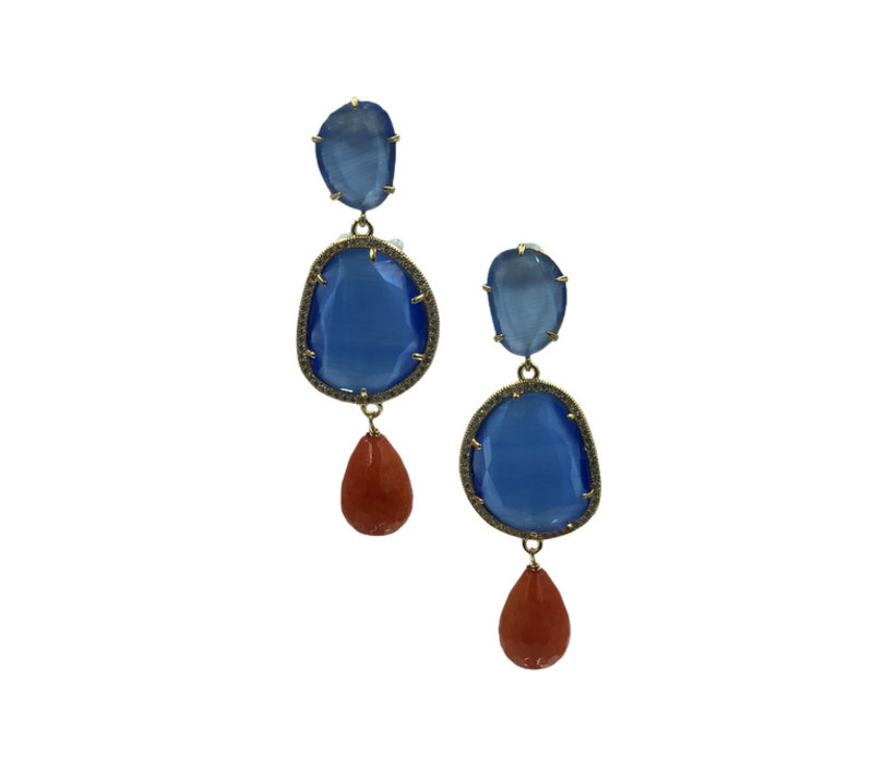 Earrings with Cat's Eye, Cat's Eye, Crystal and Agate