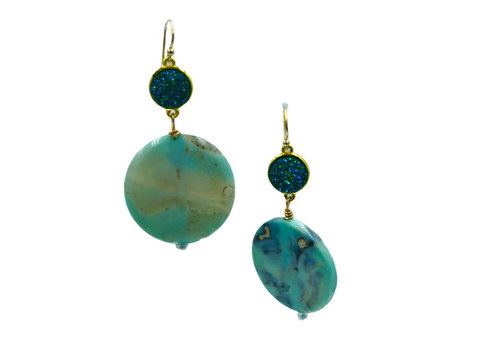CLASSIC COLLECTION Aqua, Green Earring