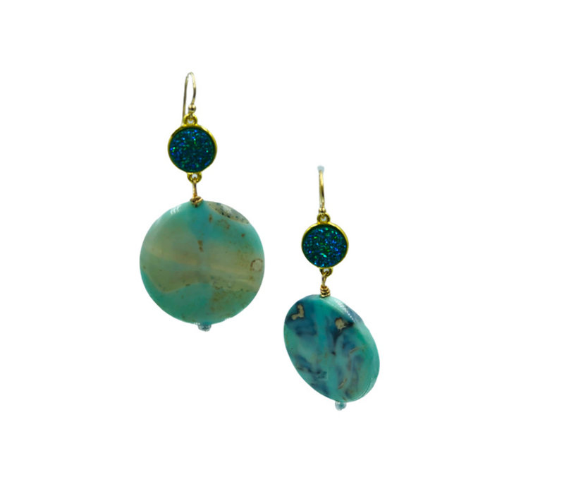 Earrings with Geode and Agate