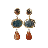 Earrings with Bras, Apetite and Tiger Agate