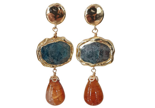 CLASSIC COLLECTION Blue, Brown Earring