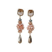 Earrings with Quartz, Pearl, Moonstone and Pyrite