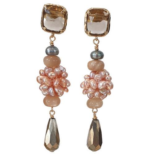 Brown, Pink Earring