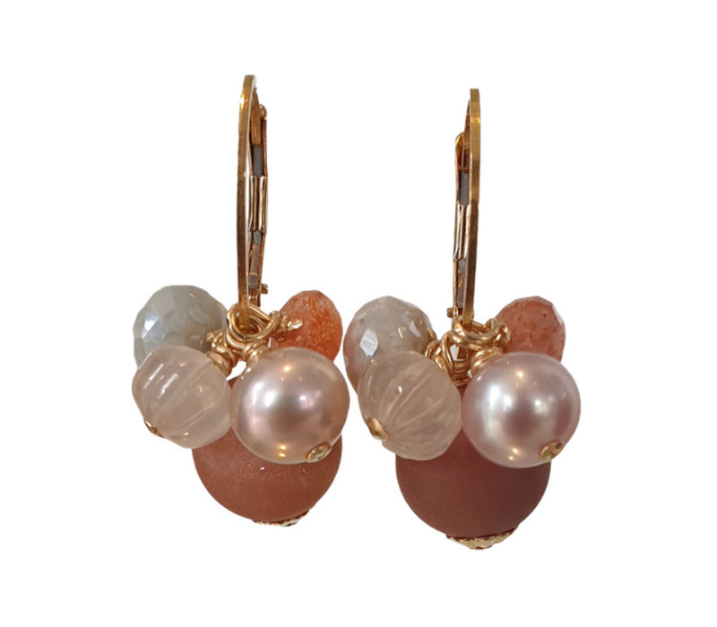 Earrings with Pearl, Aquamarine with Coating, Sandstone, Morganite and Geode