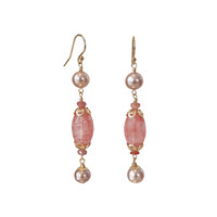 Earrings with Pearl, Orange Sapphire and Strawberry Quartz