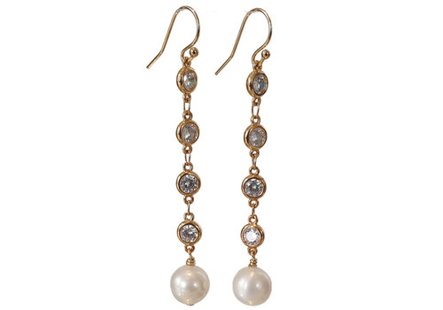 CLASSIC COLLECTION Goud, Witte Oorbel