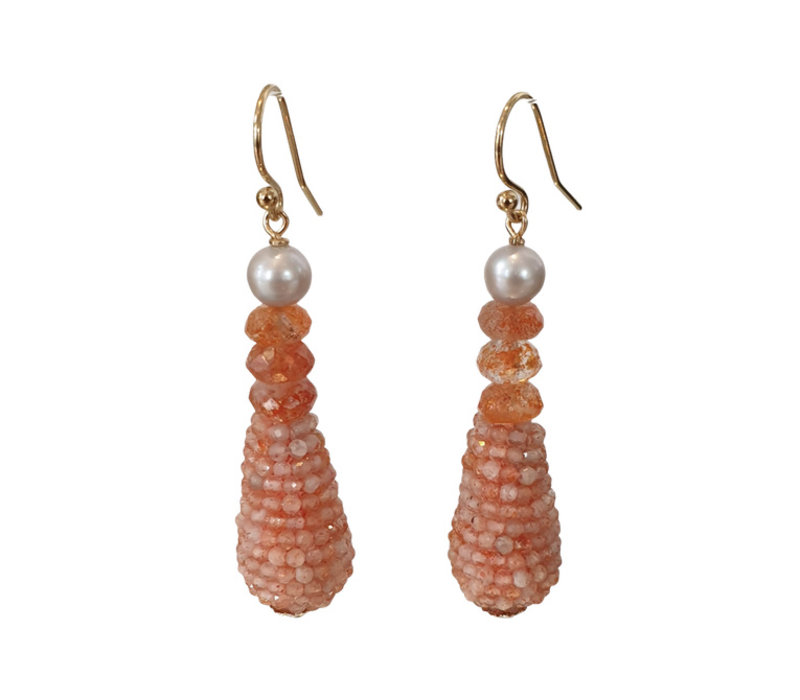 Earrings with Pearl, Sandstone and Pegel with Sandstone